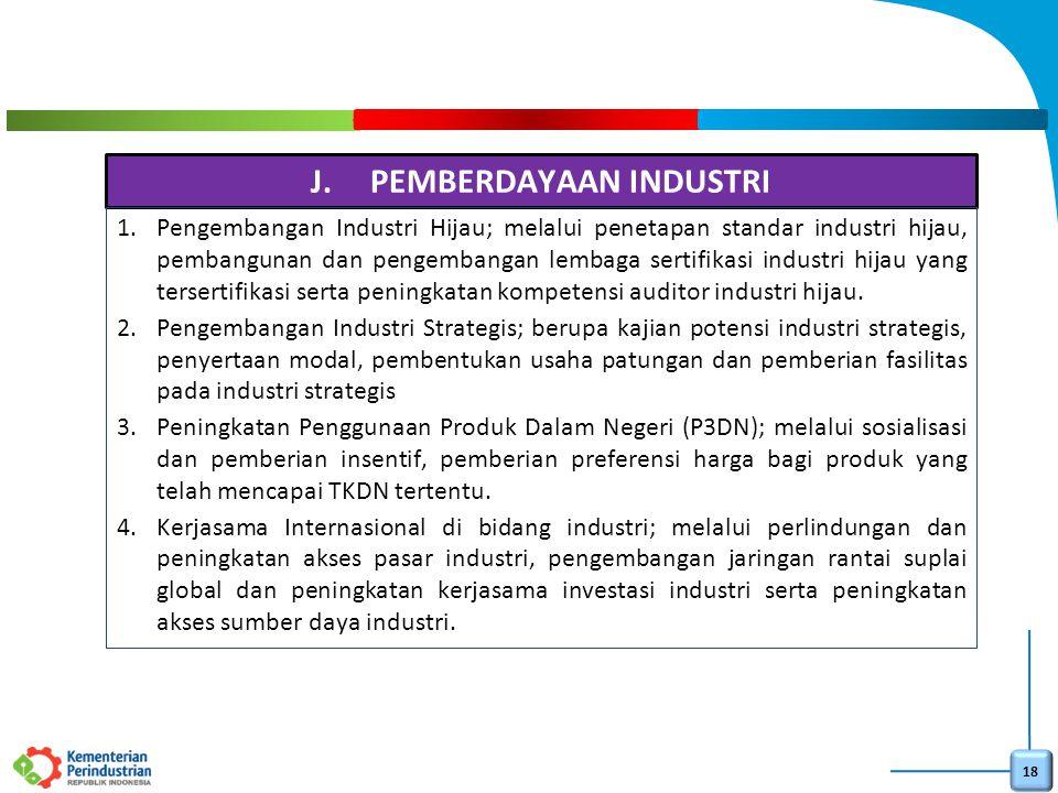 18 J.PEMBERDAYAAN INDUSTRI 1.Pengembangan Industri Hijau; melalui penetapan standar industri hijau, pembangunan dan pengembangan lembaga sertifikasi i