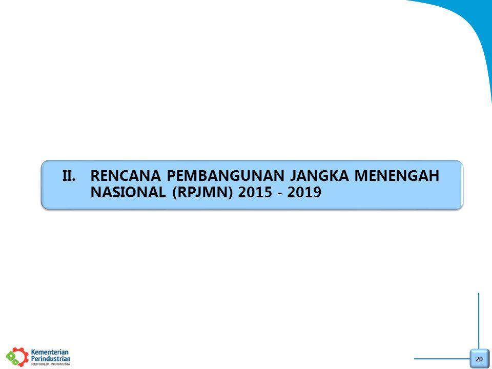 20 II.RENCANA PEMBANGUNAN JANGKA MENENGAH NASIONAL (RPJMN) 2015 - 2019