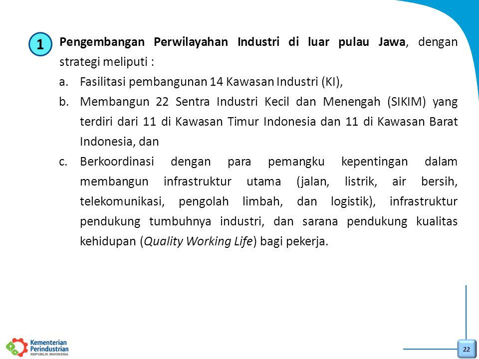 22 1)Pengembangan Perwilayahan Industri di luar pulau Jawa, dengan strategi meliputi : a.Fasilitasi pembangunan 14 Kawasan Industri (KI), b.Membangun