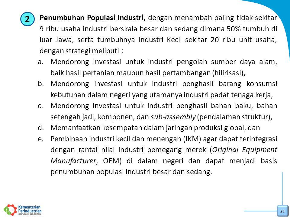 23 2.Penumbuhan Populasi Industri, dengan menambah paling tidak sekitar 9 ribu usaha industri berskala besar dan sedang dimana 50% tumbuh di luar Jawa