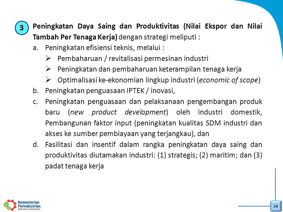 24 3.Peningkatan Daya Saing dan Produktivitas (Nilai Ekspor dan Nilai Tambah Per Tenaga Kerja) dengan strategi meliputi : a.Peningkatan efisiensi tekn