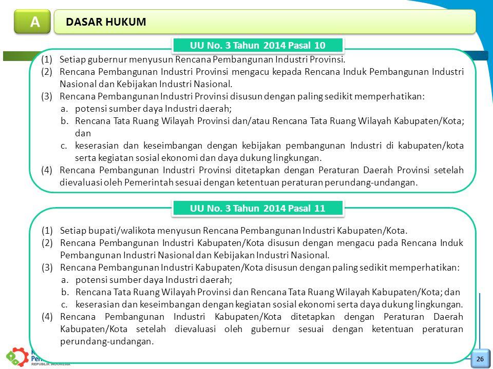 26 DASAR HUKUM A A (1)Setiap gubernur menyusun Rencana Pembangunan Industri Provinsi. (2)Rencana Pembangunan Industri Provinsi mengacu kepada Rencana
