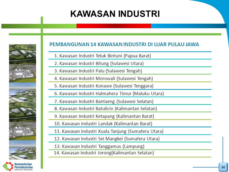 34 PEMBANGUNAN 14 KAWASAN INDUSTRI DI LUAR PULAU JAWA 1. Kawasan Industri Teluk Bintuni (Papua Barat) 2. Kawasan Industri Bitung (Sulawesi Utara) 3. K