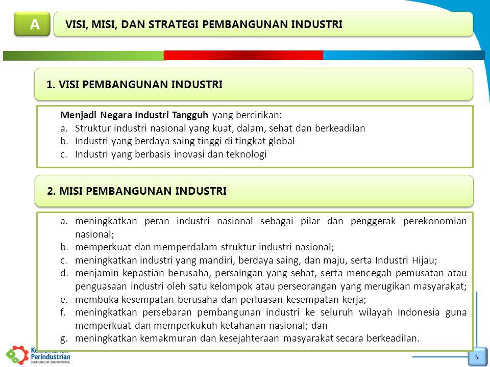 6 Strategi yang ditempuh untuk mencapai visi dan misi pembangunan industri nasional adalah sebagai berikut: a.mengembangkan industri hulu dan industri antara berbasis sumber daya alam; b.pengendalian ekspor bahan mentah dan sumber energi; c.meningkatkan penguasaan teknologi dan kualitas sumber daya manusia (SDM) industri; d.menetapkan Wilayah Pengembangan Industri (WPI); e.mengembangkan Wilayah Pusat Pertumbuhan Industri (WPPI), Kawasan Peruntukan Industri, Kawasan Industri, dan Sentra Industri Kecil dan Menengah; f.menyediakan langkah-langkah afirmatif berupa perumusan kebijakan, penguatan kapasitas kelembagaan dan pemberian fasilitas kepada industri kecil dan menengah; g.pembangunan sarana dan prasarana Industri; h.pembangunan industri hijau; i.pembangunan industri strategis; j.peningkatan penggunaan produk dalam negeri; dan k.kerjasama internasional bidang industri.