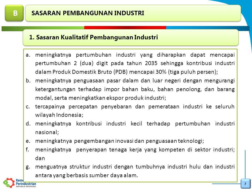 7 a.meningkatnya pertumbuhan industri yang diharapkan dapat mencapai pertumbuhan 2 (dua) digit pada tahun 2035 sehingga kontribusi industri dalam Prod