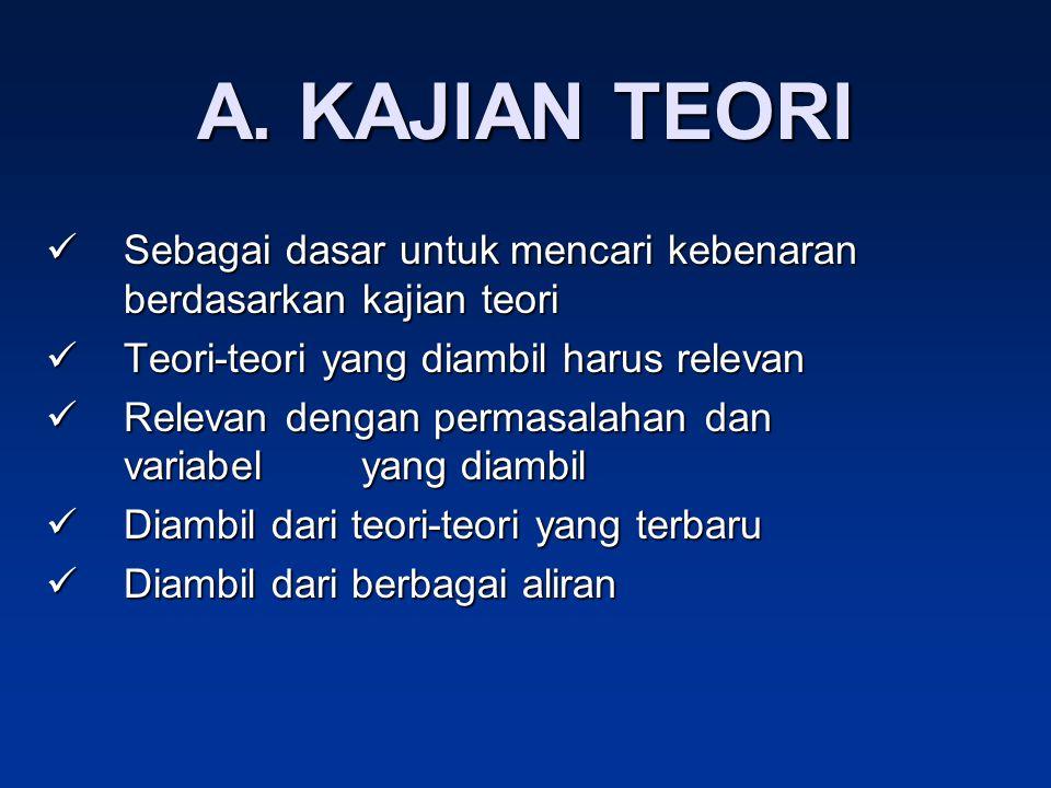 A. KAJIAN TEORI Sebagai dasar untuk mencari kebenaran berdasarkan kajian teori Sebagai dasar untuk mencari kebenaran berdasarkan kajian teori Teori-te