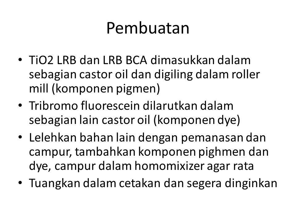 Pembuatan TiO2 LRB dan LRB BCA dimasukkan dalam sebagian castor oil dan digiling dalam roller mill (komponen pigmen) Tribromo fluorescein dilarutkan d