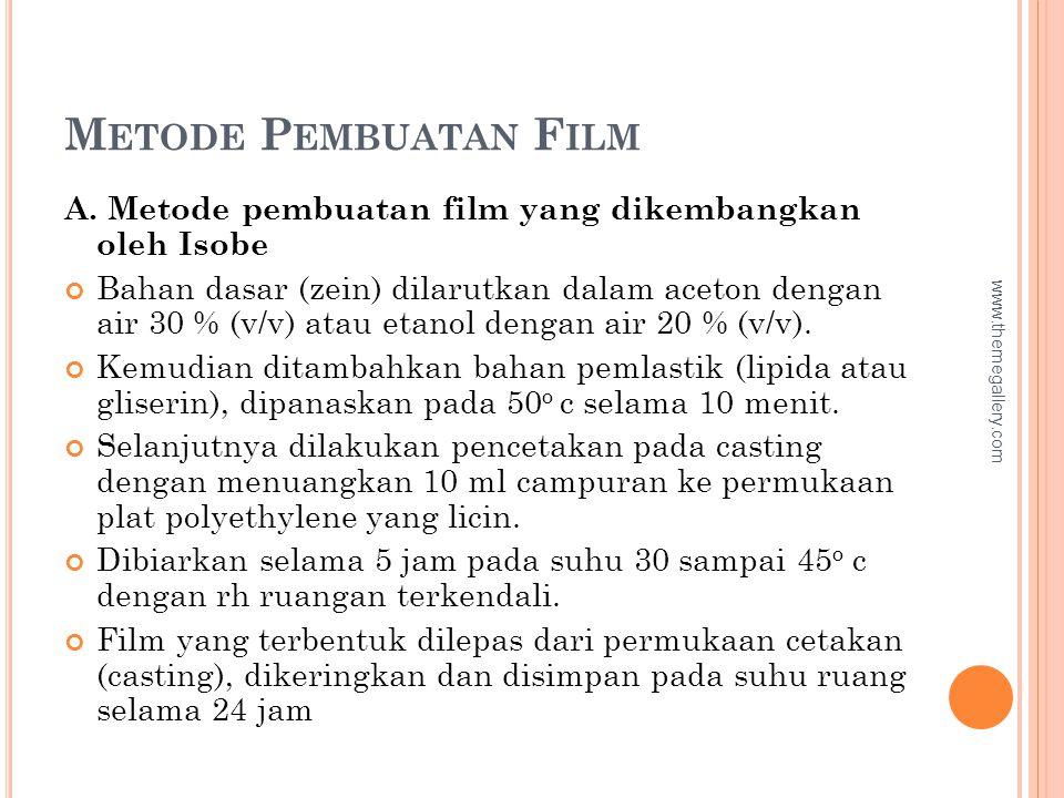 M ETODE P EMBUATAN F ILM A. Metode pembuatan film yang dikembangkan oleh Isobe Bahan dasar (zein) dilarutkan dalam aceton dengan air 30 % (v/v) atau e