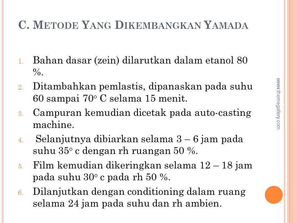 C. M ETODE Y ANG D IKEMBANGKAN Y AMADA 1. Bahan dasar (zein) dilarutkan dalam etanol 80 %. 2. Ditambahkan pemlastis, dipanaskan pada suhu 60 sampai 70