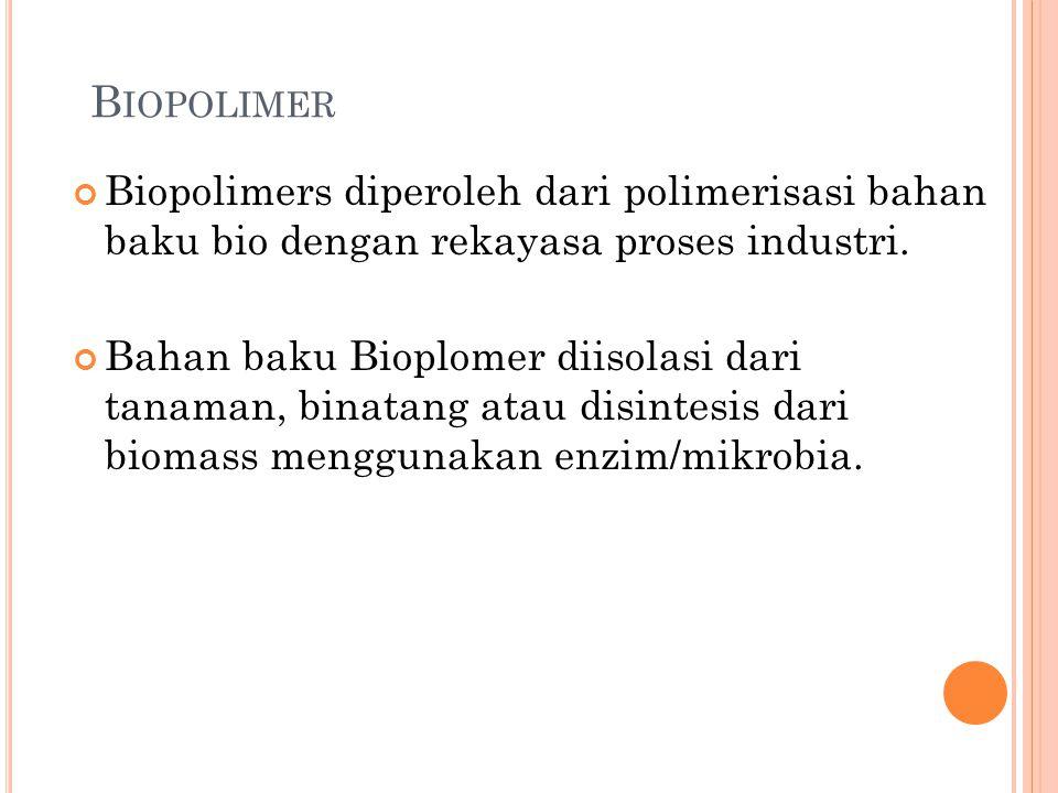 B IOPOLIMER Biopolimers diperoleh dari polimerisasi bahan baku bio dengan rekayasa proses industri. Bahan baku Bioplomer diisolasi dari tanaman, binat