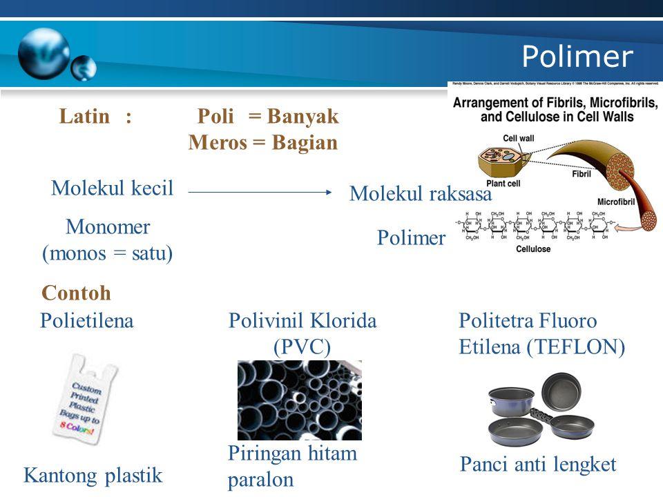 Polimer Latin: Poli = Banyak Meros = Bagian Molekul kecil Molekul raksasa Monomer (monos = satu) Polimer Contoh Kantong plastik Piringan hitam paralon