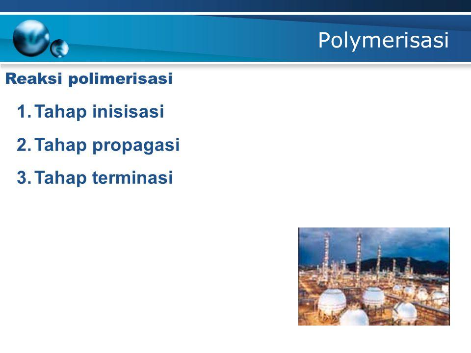 Polymerisasi 1.Tahap inisisasi 2.Tahap propagasi 3.Tahap terminasi Reaksi polimerisasi