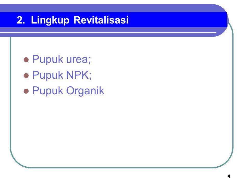 4 Pupuk urea; Pupuk NPK; Pupuk Organik 2. Lingkup Revitalisasi