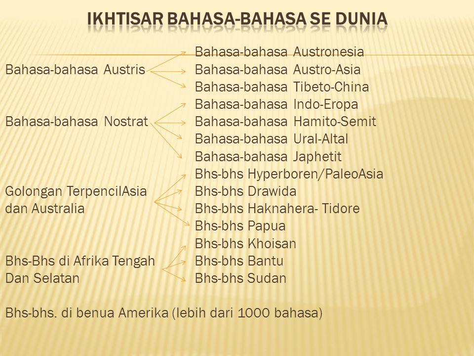 Bahasa-bahasa Austronesia Bahasa-bahasa AustrisBahasa-bahasa Austro-Asia Bahasa-bahasa Tibeto-China Bahasa-bahasa Indo-Eropa Bahasa-bahasa NostratBaha