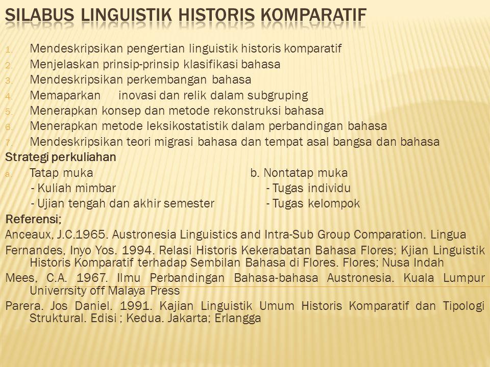 1. Mendeskripsikan pengertian linguistik historis komparatif 2. Menjelaskan prinsip-prinsip klasifikasi bahasa 3. Mendeskripsikan perkembangan bahasa