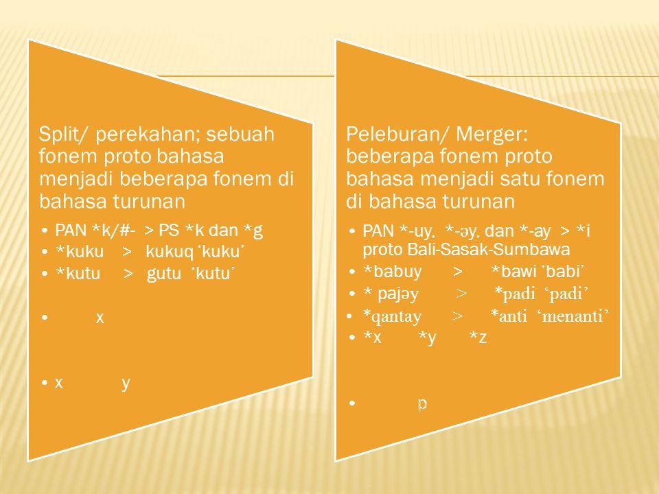 Split/ perekahan; sebuah fonem proto bahasa menjadi beberapa fonem di bahasa turunan PAN *k/#- > PS *k dan *g *kuku > kukuq 'kuku' *kutu > gutu 'kutu'