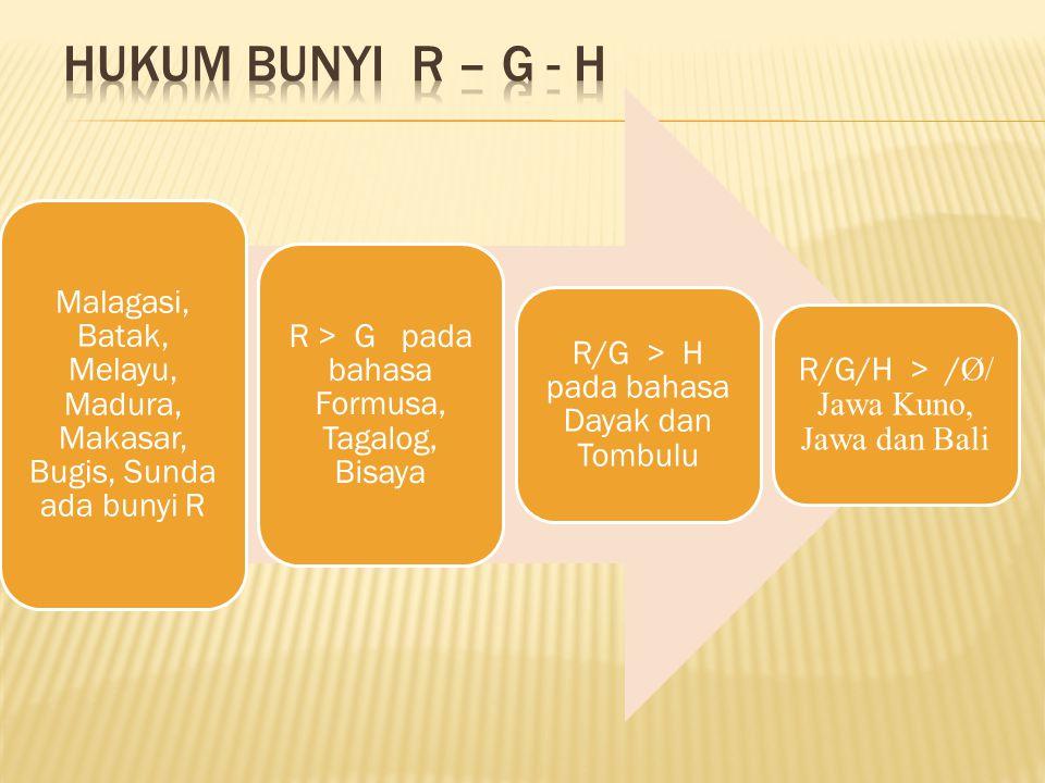 Malagasi, Batak, Melayu, Madura, Makasar, Bugis, Sunda ada bunyi R R > G pada bahasa Formusa, Tagalog, Bisaya R/G > H pada bahasa Dayak dan Tombulu R/