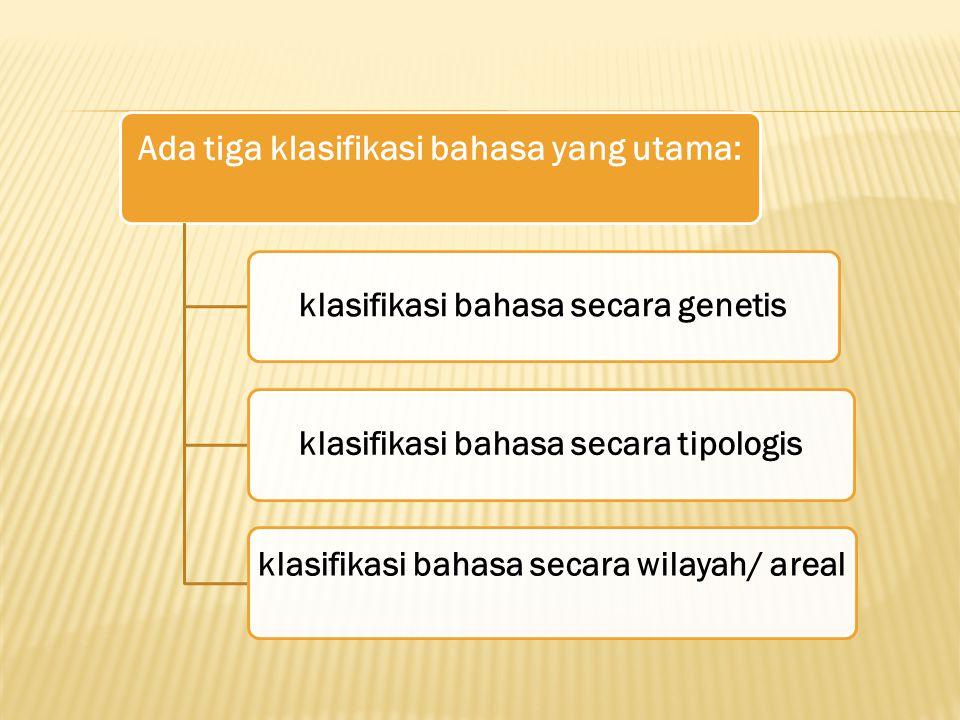 Ada tiga klasifikasi bahasa yang utama: klasifikasi bahasa secara genetisklasifikasi bahasa secara tipologis klasifikasi bahasa secara wilayah/ areal