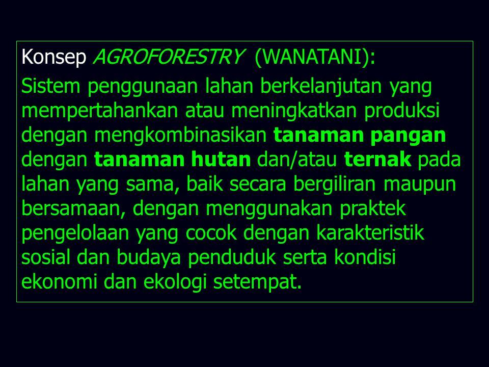 Konsep AGROFORESTRY (WANATANI): Sistem penggunaan lahan berkelanjutan yang mempertahankan atau meningkatkan produksi dengan mengkombinasikan tanaman p