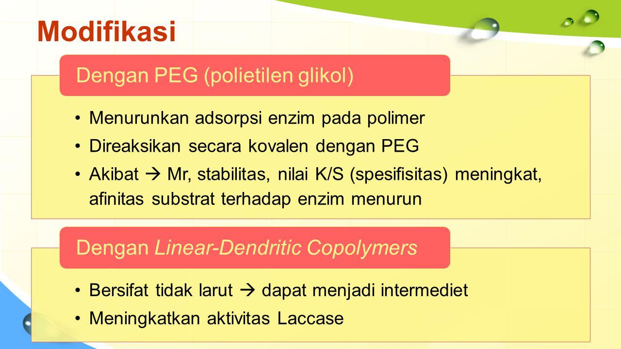 Modifikasi Menurunkan adsorpsi enzim pada polimer Direaksikan secara kovalen dengan PEG Akibat  Mr, stabilitas, nilai K/S (spesifisitas) meningkat, a