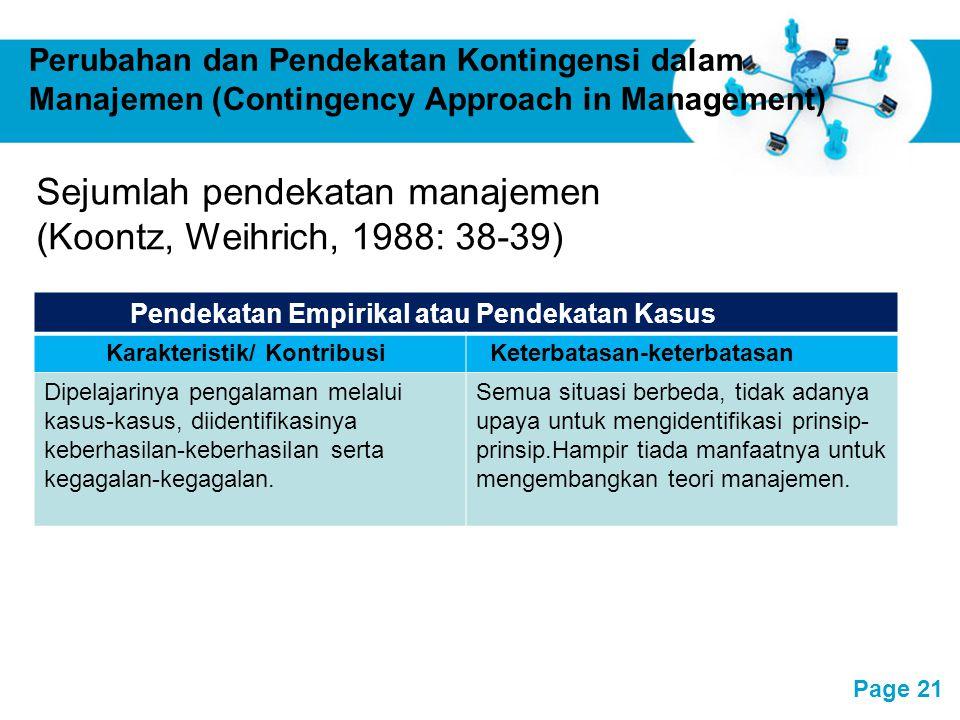 Free Powerpoint Templates Page 21 Perubahan dan Pendekatan Kontingensi dalam Manajemen (Contingency Approach in Management) Pendekatan Empirikal atau