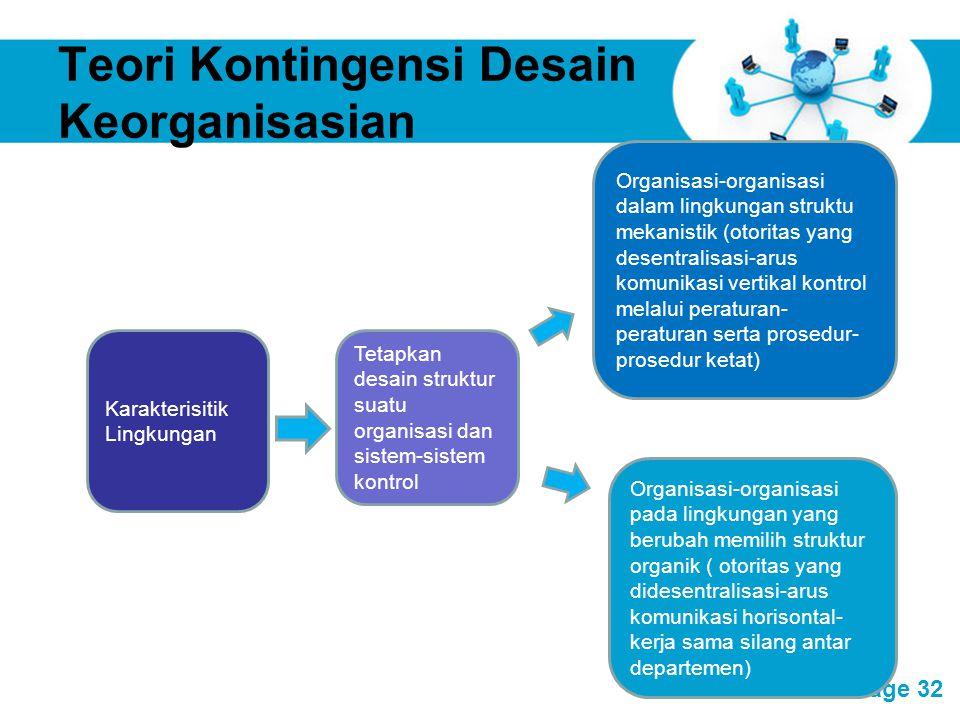 Free Powerpoint Templates Page 32 Teori Kontingensi Desain Keorganisasian Karakterisitik Lingkungan Tetapkan desain struktur suatu organisasi dan sist