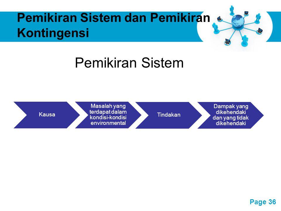 Free Powerpoint Templates Page 36 Pemikiran Sistem dan Pemikiran Kontingensi Kausa Masalah yang terdapat dalam kondisi-kondisi environmental Dampak ya
