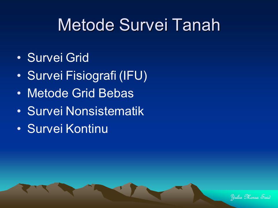 Metode Survei Tanah Survei Grid Survei Fisiografi (IFU) Metode Grid Bebas Survei Nonsistematik Survei Kontinu Yulia Morsa Said