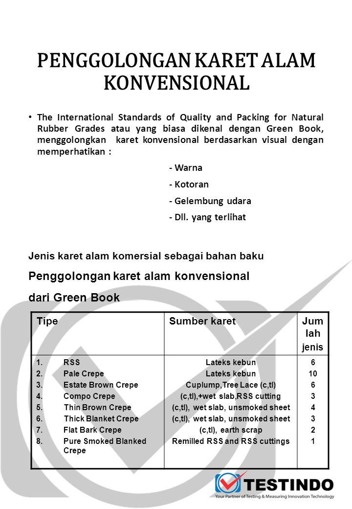 The International Standards of Quality and Packing for Natural Rubber Grades atau yang biasa dikenal dengan Green Book, menggolongkan karet konvensional berdasarkan visual dengan memperhatikan : - Warna - Kotoran - Gelembung udara - Dll.