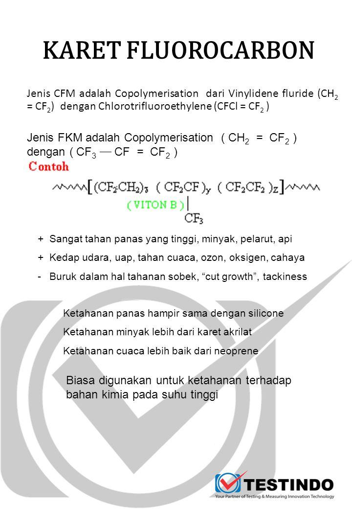 KARET FLUOROCARBON Jenis CFM adalah Copolymerisation dari Vinylidene fluride (CH 2 = CF 2 ) dengan Chlorotrifluoroethylene (CFCl = CF 2 ) Jenis FKM ad