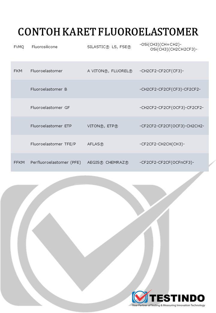 CONTOH KARET FLUOROELASTOMER FVMQ Fluorosilicone SILASTIC® LS, FSE® -OSi(CH3)(CH=CH2)- OSi(CH3)(CH2CH2CF3)- FKMFluoroelastomerA VITON®, FLUOREL®-CH2CF