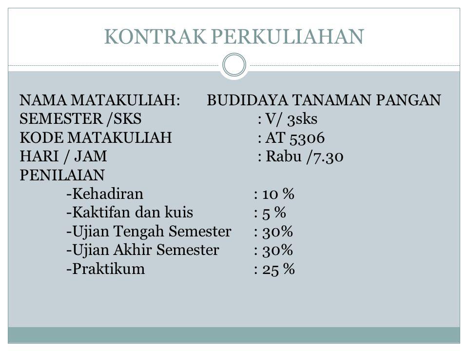 KONTRAK PERKULIAHAN NAMA MATAKULIAH: BUDIDAYA TANAMAN PANGAN SEMESTER /SKS : V/ 3sks KODE MATAKULIAH : AT 5306 HARI / JAM : Rabu /7.30 PENILAIAN -Kehadiran : 10 % -Kaktifan dan kuis: 5 % -Ujian Tengah Semester: 30% -Ujian Akhir Semester: 30% -Praktikum: 25 %