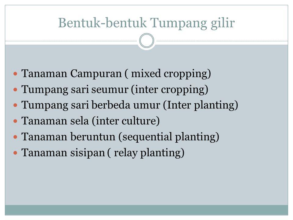 Bentuk-bentuk Tumpang gilir Tanaman Campuran ( mixed cropping) Tumpang sari seumur (inter cropping) Tumpang sari berbeda umur (Inter planting) Tanaman sela (inter culture) Tanaman beruntun (sequential planting) Tanaman sisipan ( relay planting)