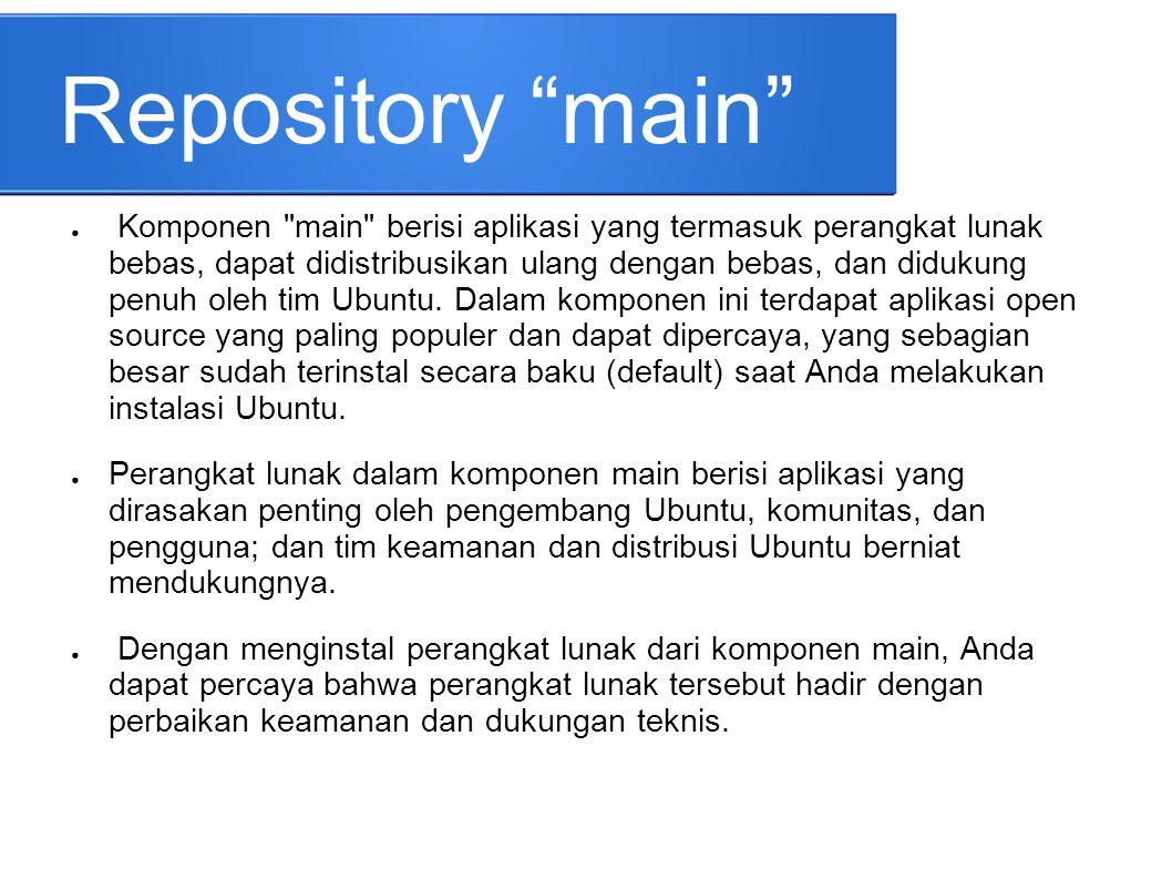 """Repository """"main"""" ● Komponen"""