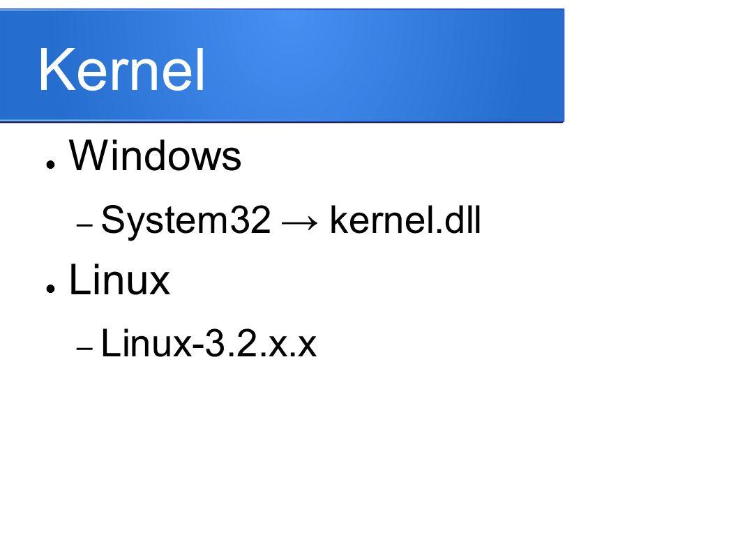 Kernel ● Windows – System32 → kernel.dll ● Linux – Linux-3.2.x.x