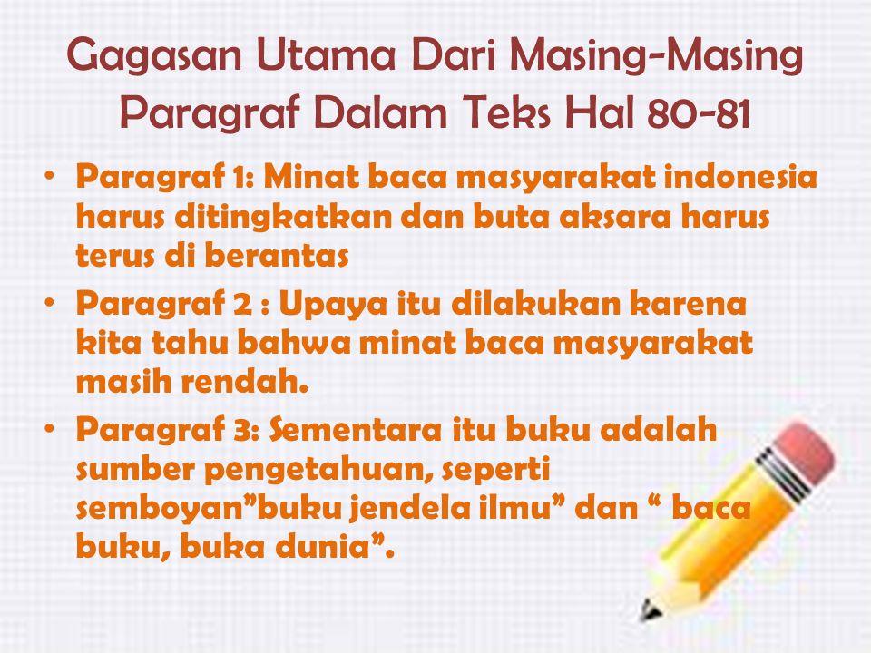 Gagasan Utama Dari Masing-Masing Paragraf Dalam Teks Hal 80-81 Paragraf 1: Minat baca masyarakat indonesia harus ditingkatkan dan buta aksara harus te