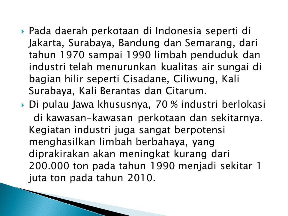  Pada daerah perkotaan di Indonesia seperti di Jakarta, Surabaya, Bandung dan Semarang, dari tahun 1970 sampai 1990 limbah penduduk dan industri telah menurunkan kualitas air sungai di bagian hilir seperti Cisadane, Ciliwung, Kali Surabaya, Kali Berantas dan Citarum.