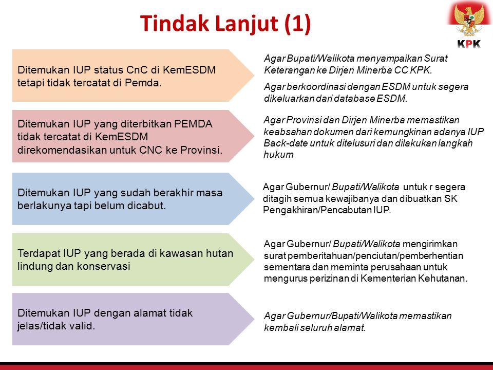 Tindak Lanjut (1) Ditemukan IUP status CnC di KemESDM tetapi tidak tercatat di Pemda. Agar Bupati/Walikota menyampaikan Surat Keterangan ke Dirjen Min