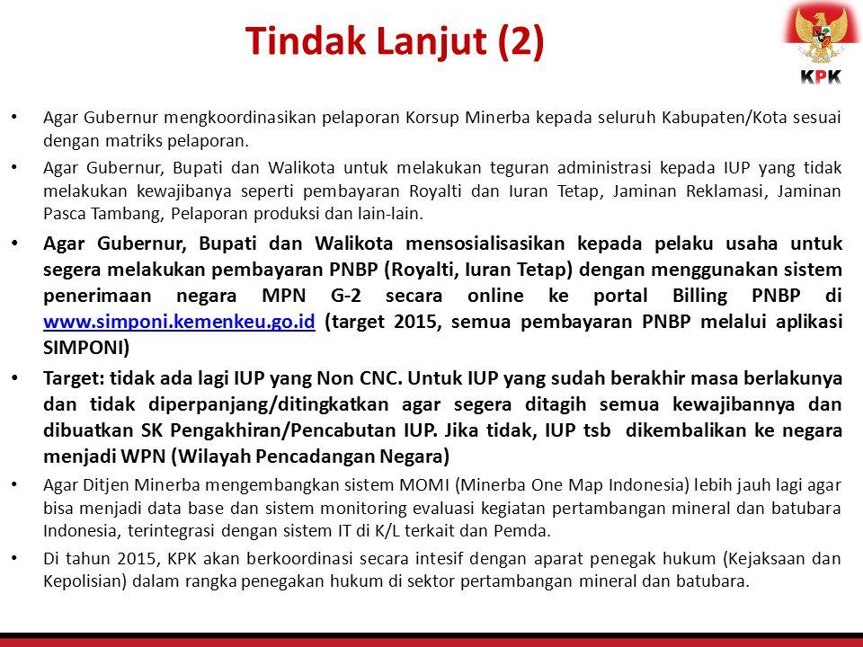 Agar Gubernur mengkoordinasikan pelaporan Korsup Minerba kepada seluruh Kabupaten/Kota sesuai dengan matriks pelaporan. Agar Gubernur, Bupati dan Wali