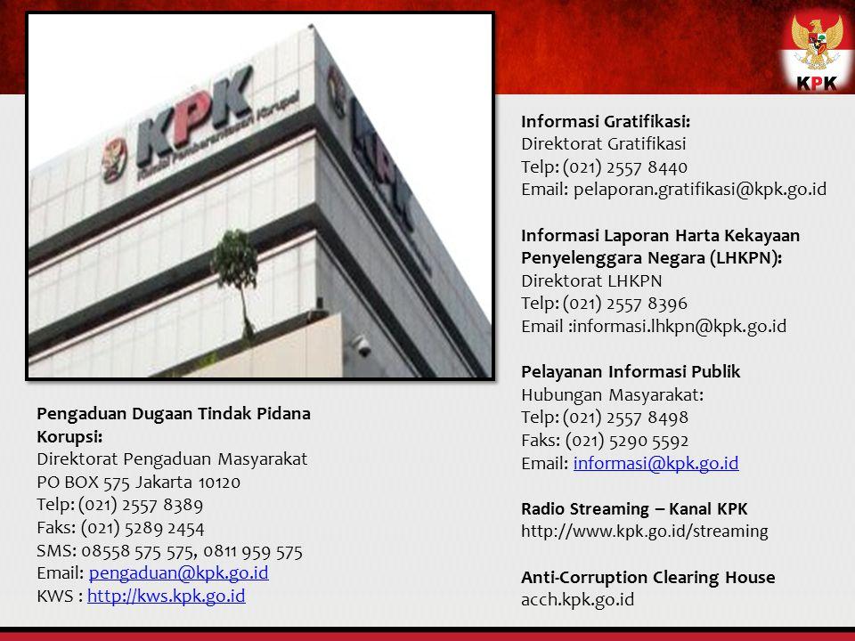 Pengaduan Dugaan Tindak Pidana Korupsi: Direktorat Pengaduan Masyarakat PO BOX 575 Jakarta 10120 Telp: (021) 2557 8389 Faks: (021) 5289 2454 SMS: 0855