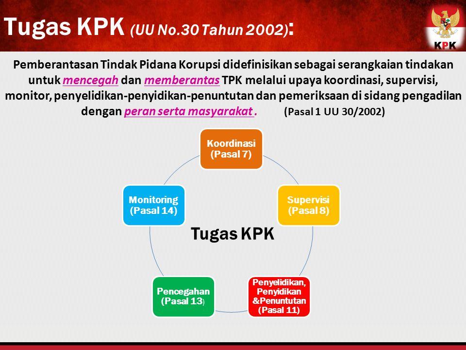 Pemberantasan Tindak Pidana Korupsi didefinisikan sebagai serangkaian tindakan untuk mencegah dan memberantas TPK melalui upaya koordinasi, supervisi,