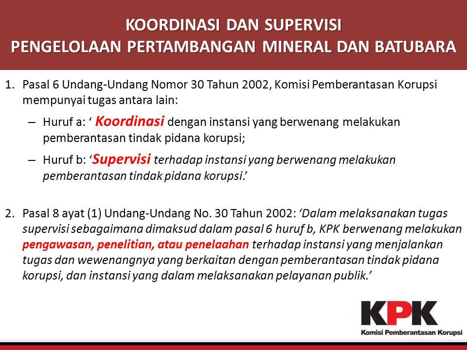 KOORDINASI DAN SUPERVISI PENGELOLAAN PERTAMBANGAN MINERAL DAN BATUBARA 1.Pasal 6 Undang-Undang Nomor 30 Tahun 2002, Komisi Pemberantasan Korupsi mempu