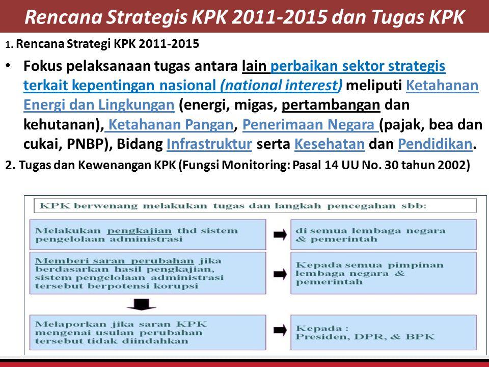 Rencana Strategis KPK 2011-2015 dan Tugas KPK 1. Rencana Strategi KPK 2011-2015 Fokus pelaksanaan tugas antara lain perbaikan sektor strategis terkait