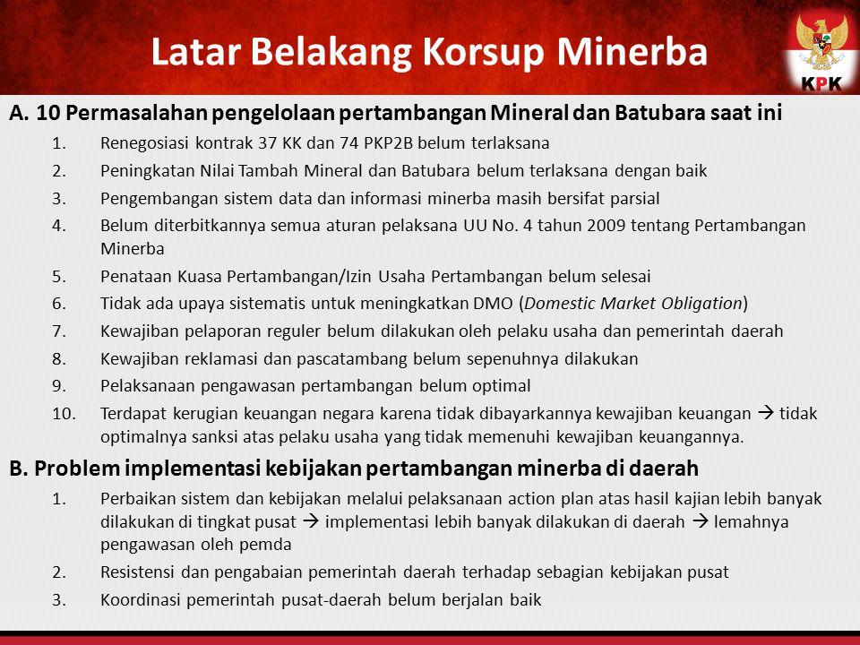 Latar Belakang Korsup Minerba A. 10 Permasalahan pengelolaan pertambangan Mineral dan Batubara saat ini 1.Renegosiasi kontrak 37 KK dan 74 PKP2B belum