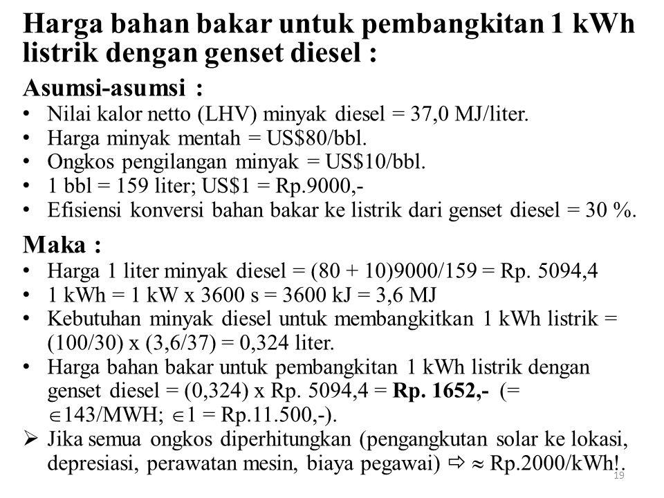 Harga bahan bakar untuk pembangkitan 1 kWh listrik dengan genset diesel : Asumsi-asumsi : Nilai kalor netto (LHV) minyak diesel = 37,0 MJ/liter. Harga