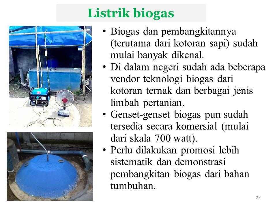 Listrik biogas 23 Biogas dan pembangkitannya (terutama dari kotoran sapi) sudah mulai banyak dikenal.