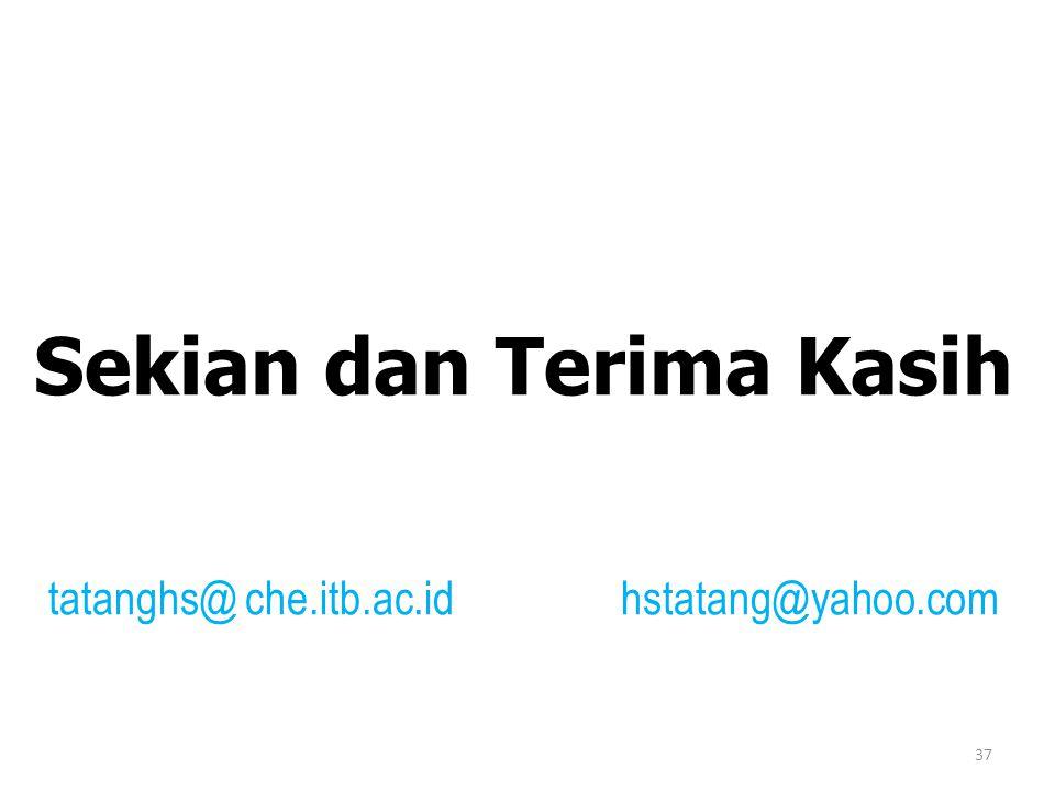37 Sekian dan Terima Kasih tatanghs@ che.itb.ac.id hstatang@yahoo.com
