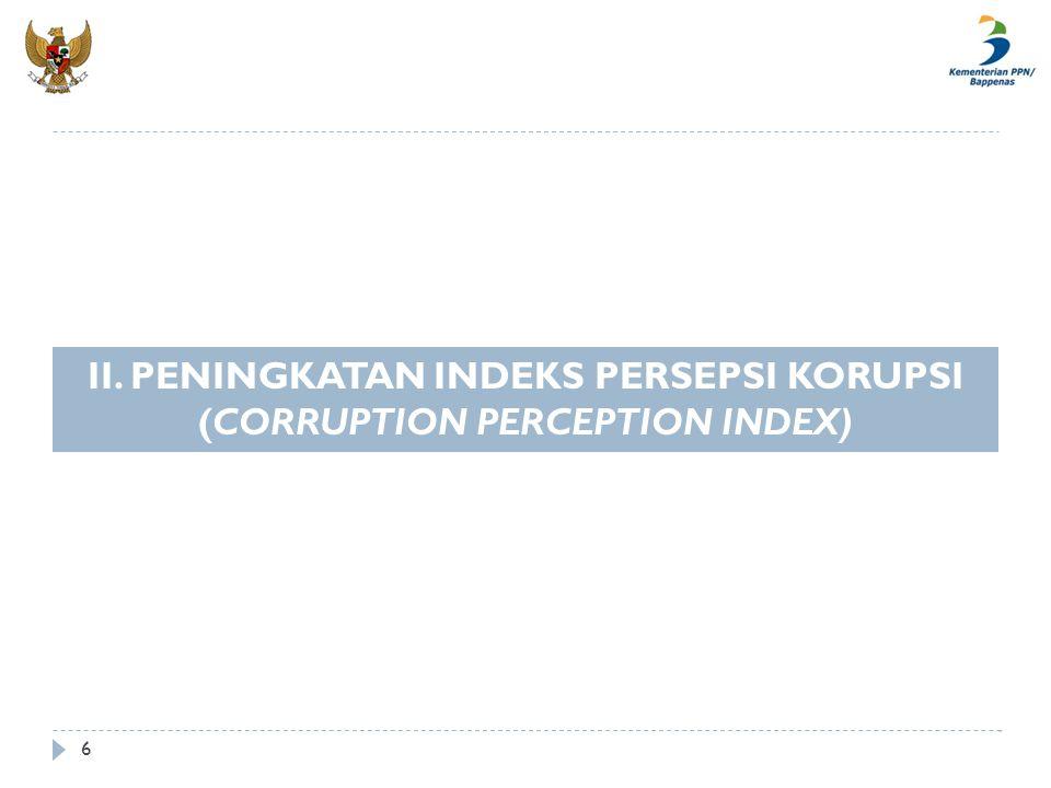 6 II. PENINGKATAN INDEKS PERSEPSI KORUPSI (CORRUPTION PERCEPTION INDEX)