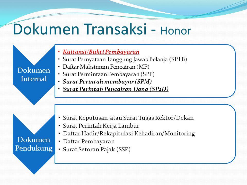 Dokumen Transaksi - Honor Dokumen Internal Kuitansi/Bukti Pembayaran Surat Pernyataan Tanggung Jawab Belanja (SPTB) Daftar Maksimum Pencairan (MP) Sur