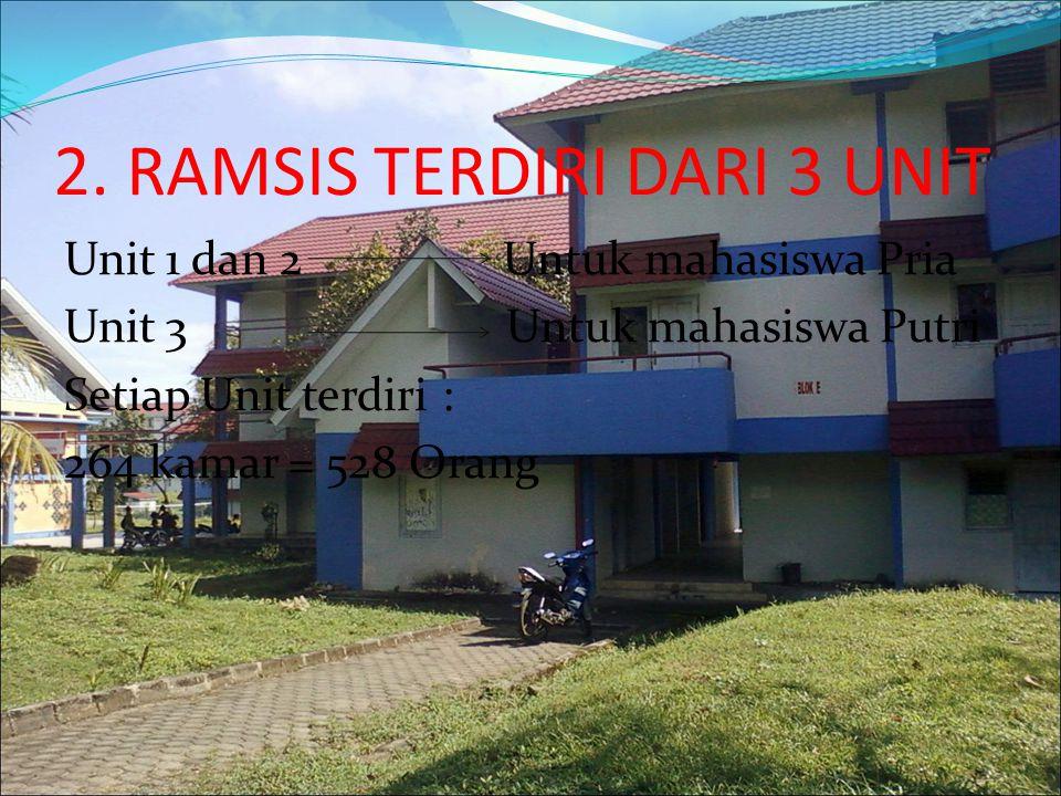 2. RAMSIS TERDIRI DARI 3 UNIT Unit 1 dan 2 Untuk mahasiswa Pria Unit 3 Untuk mahasiswa Putri Setiap Unit terdiri : 264 kamar = 528 Orang